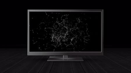 tv channel : Digital animation of a flat screen television in a dark empty room with connected dots and lines on its screen