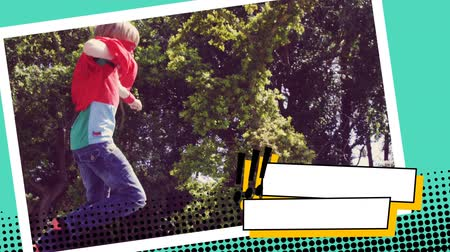 развлекать : Full view of a Caucasian boy wearing a superhero costume jumping around with trees behind him in a digital photo border effect