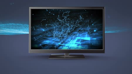 changing channel : Digital animation of a flat screen television with connected lines and dots on its screen
