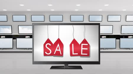changing channel : Digital animation of a flat screen television with sale tags on its screen. Behind it are other flat screen displayed on a wall Stock Footage