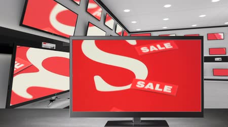 eladás : Digital animation of flat screen televisions with sale tags on their screen at an electronic store