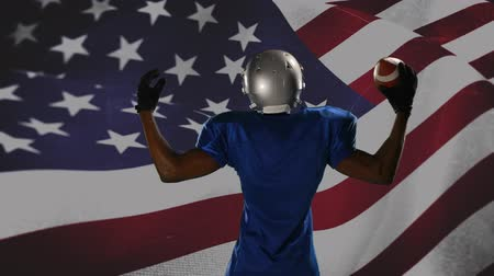 glória : Digital composite of a football player and an American flag waving against the wind in the background