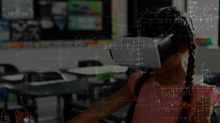amusing : Digital composite of a girl wearing a virtual reality headset in a classroom with moving equations in the foreground