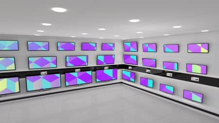 changing channel : Digital animation flat screen televisions with colourful screens displayed on a wall