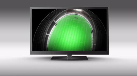 dobrar : Digital animation of a television with a field stadium on its screen