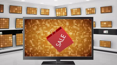 megjelölt : Digital animation of a flat screen television with a shopping marked with sale on its screen with a shiny sequenced background Stock mozgókép