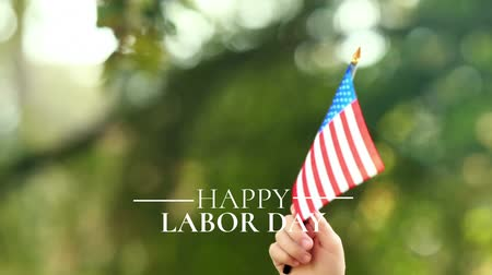 dc : Close up of a hand held flag with a text on the foreground that reads happy labor day Stock Footage