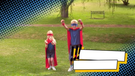 çizgi roman : Full view of a Caucasian boy and a girl wearing superhero costumes while jumping at a park with a digital dotted border effect