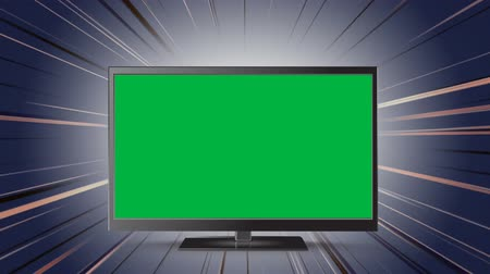 changing channel : Digital animation of a flat screen television with a green screen and a glimmering background
