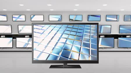 развлекать : Digital animation of a flat screen television with shiny silver bars on its screen. Behind it are other televisions on display Стоковые видеозаписи