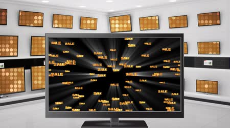 amusing : Digital animation of a flat screen television with sale texts on its screen. Behind it are other televisions on display Stock Footage
