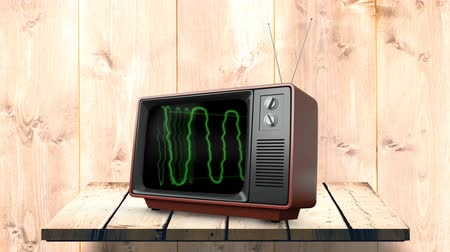 série : Digital animation of a television on a wooden wall counter with green static electricity on its screen Vídeos