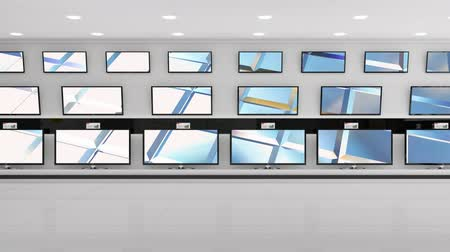 changing channel : Digital animation of flat screen televisions on display with HD screens Stock Footage