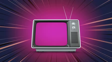 changing channel : Digital animation of a television with a purple screen on a background with rays of light Stock Footage