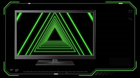 changing channel : Digital animation of a television with concentric triangles on its screen and a digital border on a black background Stock Footage