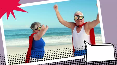 çizgi roman : Digital animation of grandparents wearing superhero costume on the beach with comic book message bubbles Stok Video