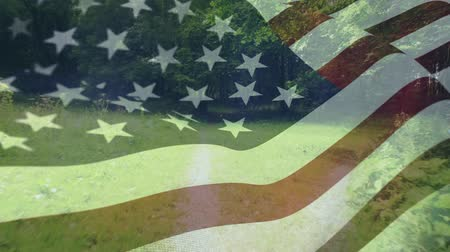 spangled : Digital composite of a forest trail with an American flag waving in the foreground Stock Footage