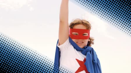 superheroe : Front view of a Caucasian boy wearing a superhero costume with a digital dotted border on a white background