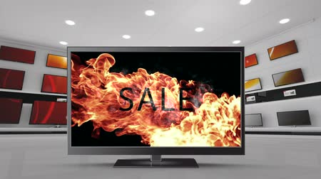 changing channel : Digital animation of a flat screen TV with a sale sign on fire on its screen and other TVs behind it on a wall