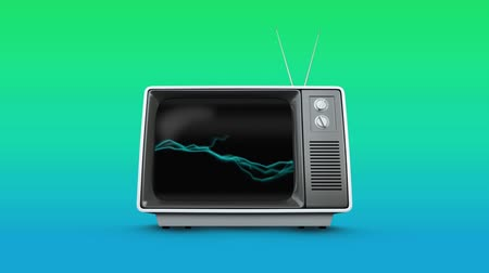 changing channel : Digital animation of a television with static electricity on its screen on a gradient green background Stock Footage