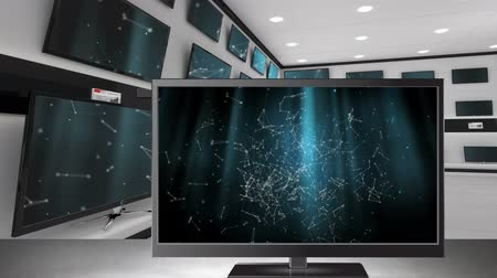 série : Digital animation of TVs displayed at an electronics store with connected dots and lines on their screens Vídeos