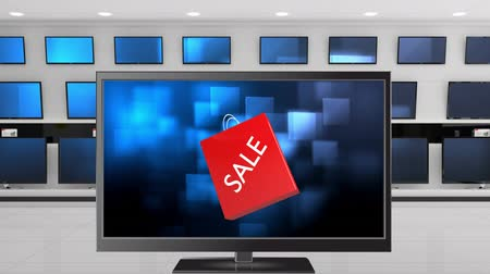 tv channel : Digital animation of a Flat screen TV with an sale shopping bag on its screen. Behind it are other TVs displayed on a wall