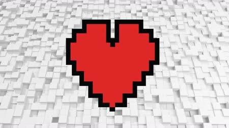 brilhar : Digital animation of a pixel heart on a background filled with pixel cubes