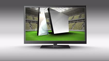changing channel : Digital animation of a flat screen television with people watching the games on its screen