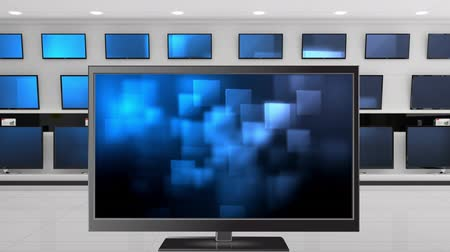 changing channel : Digital animation of a flat screen television with glowing squares on its screen. Behind it are other televisions displayed on a wall