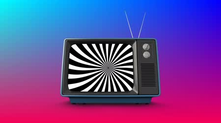 changing channel : Digital animation of a television with spinning black and white stripes on its screen with a gradient blue and purple background