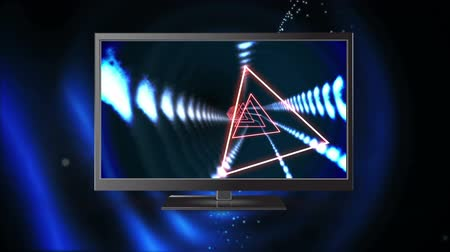 changing channel : Digital animation of a flat screen television with neon triangle tunnel effects on its screen. On the back of it is a blue abstract circle like effect
