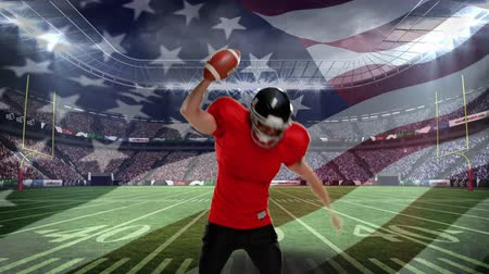 flexionar : Digital composite of an American football athlete celebrating on a field stadium with US flag waving in the foreground