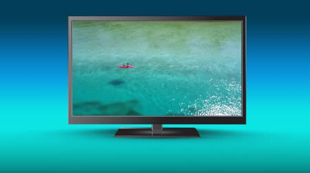 rodar : Digital animation of a flat screen television with view of a person kayaking on a lake Vídeos