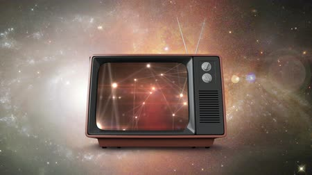 galaxie : Digital composite of a television flying in outer space with connected lines and dots on its screen