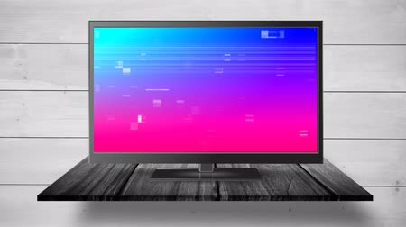 changing channel : Digital animation of a flat screen TV with pixel noise