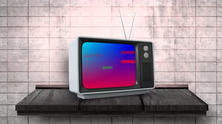 changing channel : Digital animation of a television on a wooden wall counter with pixel noise
