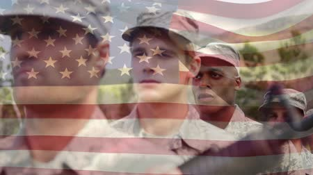 kötelesség : Digital animation of American soldiers lined up at attention with an American flag waving in the foreground