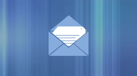 spam : Digital animation of an envelope containing a document on a blue background