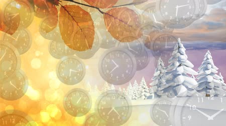 ticking : Digital composite of winter and autumn seasons each occupying half of the screen with a foreground filled with analogue clocks Stock Footage