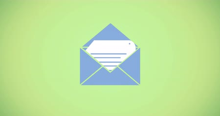 спам : Digital animation of an envelope with a file document on a green background 4k Стоковые видеозаписи