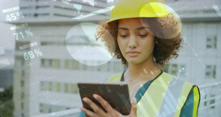 apprehensive : Digital composite of a Caucasian female architect checking her tablet outdoors with graphs and statistics in the foreground 4k Stock Footage