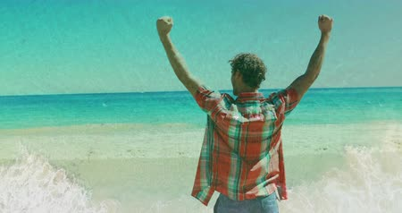 euforia : Digital composite of a man raising his arms in success while facing the beach on a sunny day 4k Vídeos