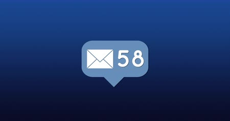 spam : Digital animation of a message icon with increasing number count on a blue background 4k