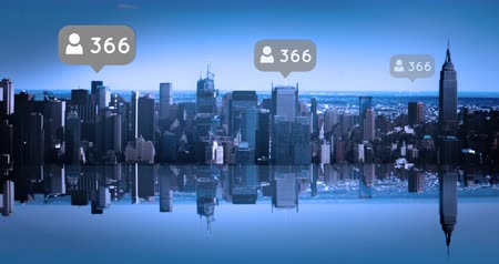 follower : Digital composite of a city with follower icons increasing in numbers 4k Stock Footage