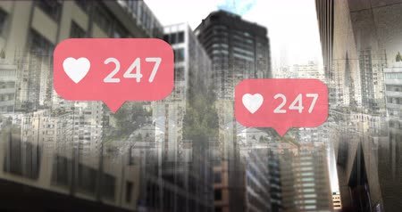 de aumento : Digital composite of a city with heart icons and numbers counting up 4k