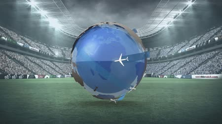 reszelt : Digital animation of a rotating globe in a stadium filled with people