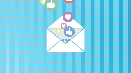interaktif : Digital animation of an envelope filled with flying likes, hearts and follow icons on a blue stripped background