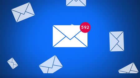 spam : Digital composite of a message icon increasing in count with icons flying behind it on a blue background Stock Footage