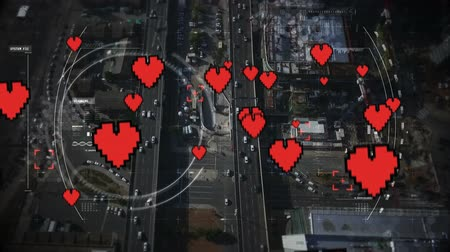 konumlandırma : Digital composite of a satellite view of a highway with hearts in the foreground