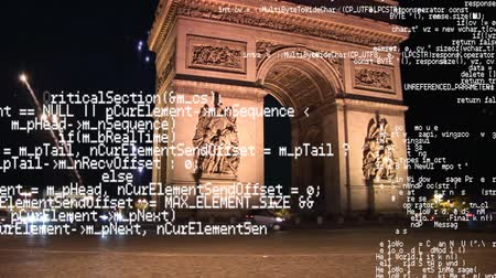 comemoração : Digital composite of the Arc de Triomphe with fireworks in the background and program codes running the foreground Stock Footage